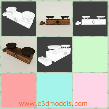 3d model the wooden vintage in the old style - This is a 3d model of the wooden vintage in the old style,which is balanced and made in wood.The model is rare in the modern society.