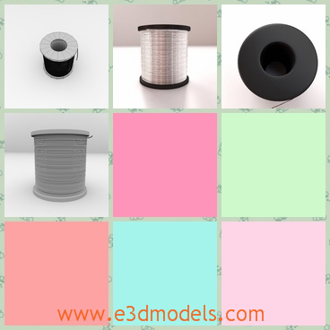 3d models of strings on spool - These 3d models are about several spools on which we can see shiny metal lines and black strings.