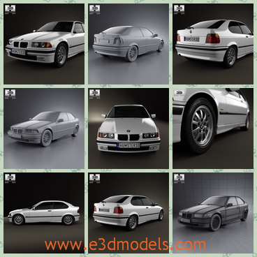 3d model a car of BMW made in 1994 - This is a 3d model of a car of BMW,which is made in 1944 and the type is outdated nowadays.The car is so practical and is compact.