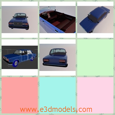 3d model a car of Lada - This is a 3d model of a car of Lada,which is made in blue.The car has a truck with it and has an open roof.
