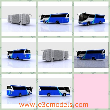 3d model a coach in blue - This is a 3d model about a blue coach,which is long and commodious.The coach is made in Japan with high speed.