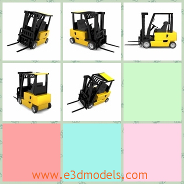 3d model a forklift in black and yellow - This is a 3d model about a forklift,which looks like a truck and a person is accommodated on it.