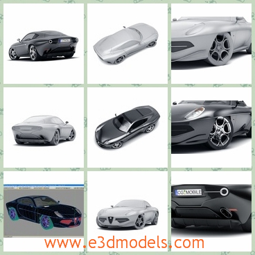 3d model a kind of sport car - This is a 3d model of the Alfa Romeo Disco Volante sports car,which is made in 2012.The black is common compared with the gray one.
