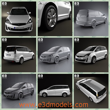3d model a minivan of Proton Exora - This is a 3d model of a minivan,which is made in 2012 and the shape is fashional and popular.