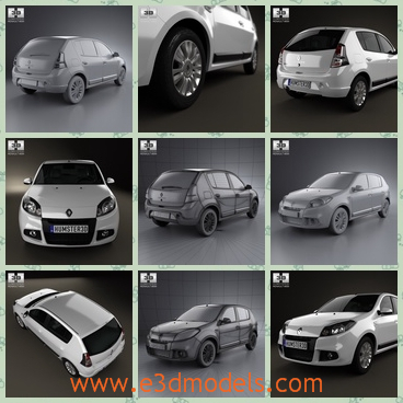 3d model a renault car with a hatchback - This is a 3d model of a car of Renault Sandero,which has a hatchback with it and the shinging appearance is charming and attractive.