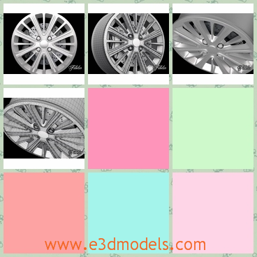 3d model a rim of the car - This is a 3d model about a rim of the car.There are so many studdles within the rim,which make the rim more outstanding when it runs.