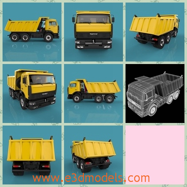 3d model a yellow truck - This is a 3d model of a yellow truck with six tires,which is big and heavy.The truck is used as a dumper.