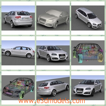 3d model an audi car - This is a 3d model of an Audi car made in 2009 with detailed interior.The body is longer than sedan and has commodious room.