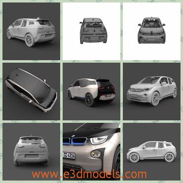 3d model BMW in 2014 - This is a 3d model about the BMW,which is large and popular.The charging station is also included with the model at no additional charge.