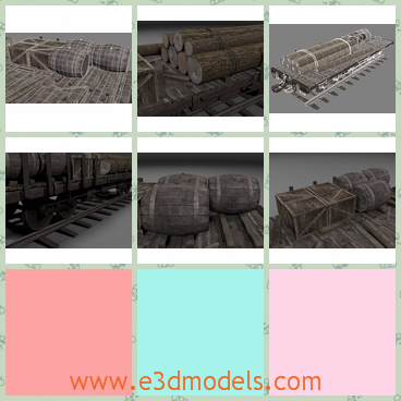 3d model cargo with barrel - This is a 3d model of the cargo with barrel,which are rare and the wooden barrels are common in the daily life.