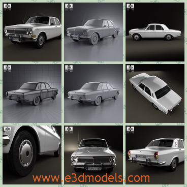 3d model GAZ - This is a 3d model of a sedan car named GAZ made in Russia,which was made on 1967 when Russia was the USSR.