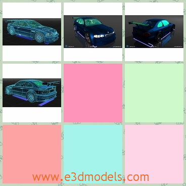 3d model of a blue car - This is a 3d model of a blue car. This car has a wide bonnet and a big bumper on the boot. It has bright headlights and big black tyres.