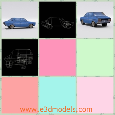 3d model of a blue car - This 3d model is about a nice blue car which has four shiny steel wheels with black tyres. It is a very low poly car with only 212 polygons.