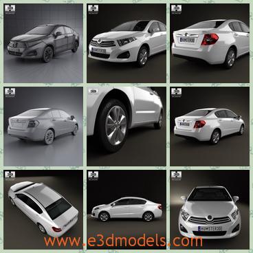 3d model of a Brilliance car - This is a 3d model of a Brilliance car which has a glisten white surface and a big black windscreen. The model is provided combined.