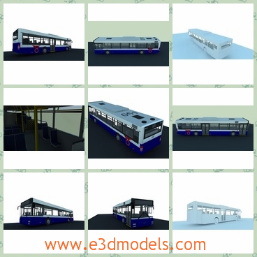 3d model of a bus - This 3d model is about a long bus which has a white top and blue paints on lower parts.The interior of the bus is neat and spacious.