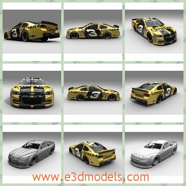 3d model of a CHerolet NASCAR - This is a 3d model of the 2014 NASCAR SS Chevrolet. This car has a cool yellow and black surface and it is very flat.