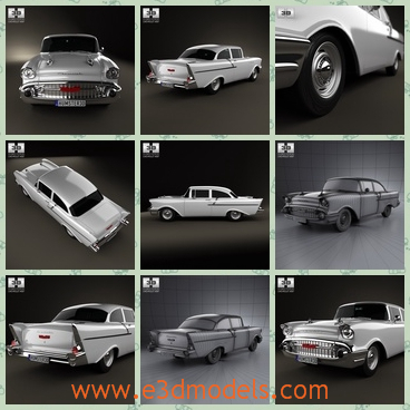 3d model of a Chevrolet - This is a Chevrolet sedan which is very cool and luxurious. This car has a very long body and an even roof and shiny wheels.