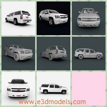 3d model of a Chevrolet car - This 3d model is about a Chevrolet Suburban 2010 edition. This is a large white car with a long and tall roof and big black tyres.