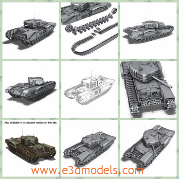 3d model of a Churchill MK IV - This 3d model is about a Churchill MK IVwhich is originally modelled in cinema4D 9.5. It is detailed enough for close-up renders. The zip-file contains bodypaint textures and standard materials.