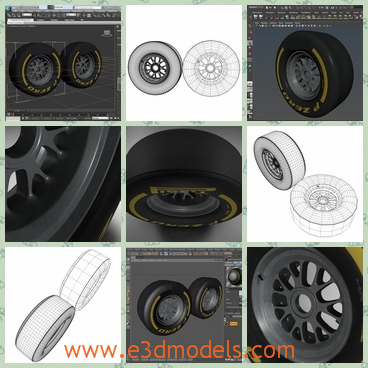 3d model of a Formula 1 front tyre - There is a 3d model which is about a fornt tyre. This Formula 1 front tyre is very thick and tough and on its black surface we can see yellow words.
