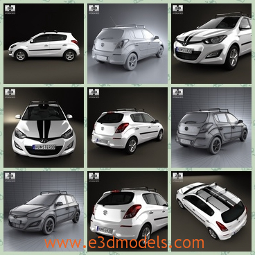 3d model of a Hyundai i20 - This 3d model is about a Hyundai car which has a big body. Its bonnet is very wide and it has a shiny white surface.