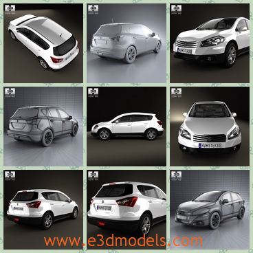 3d model of a Suzuki SX 4 - This 3d model is about a Suzuki car which has a wide flat top. This car is very large and it has shiny headlights.