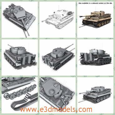 3d model of a tank - This 3d model is about a heavy Germany tank which has a big iron body and two long tracks. This tank has a long mortar which can move to different directions.