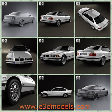3d model of a white BMW coupe - This is a 3d model which is about a white BMW car with shiny surfaces and bright steel wheels. It is crated on real car base and it is qualitatively and maximally close to the original.