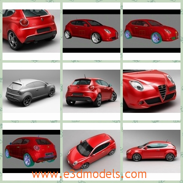 3d model of Alfa Romeo Mito - This is a 3d model of an Alfa Romeo Mito which is a cute red coupe. This car has a long roof and only two doors.