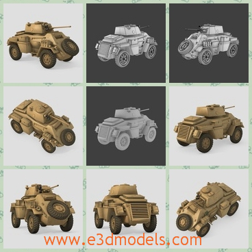 3d model of an armored car - This 3d model is about a smart armored car which has a heavy iron body. It has four big wheels and a long mortar.