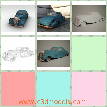 3d model of an old mercedes - This 3d model shows us an old mercedes car which is dirty and wrecked. It is probably abandoned by its owner and it is an antique car with a rusty blue surface.