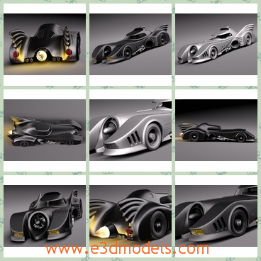 3d model of Batmobile 1989 jet car - This 3d model is about a wonderful batmobile jet car which is often seen in the famous movie batman. It is a cool black car with small wheel.