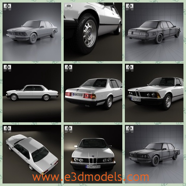 3d model of BMW 7 series E23 - This 3d model is about a BMW car. This car has a long body with a wide bonnet and it is flat except the white roof.