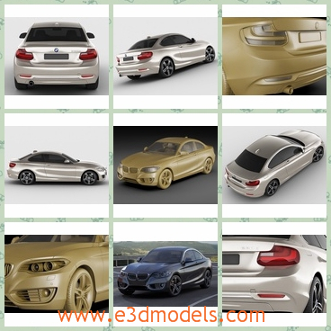 3d model of BMW F22 - There is a 3d model of a BMW car which is a cool sliver car with smooth lines and a flat body. This car has four black wheels and big taillights.