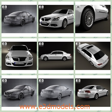 3d model of Brilliance BS 6 - This is a 3d model which is about a dashing Brilliance BS 6. This car is long and wide and has a glisten white surface.