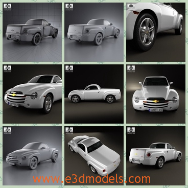 3d model of Chervolet SSR - This 3d model is about a Chervolet car which has a slight bulging bonnet. This car is very long and it has a small roof.
