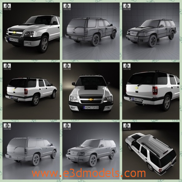 3d model of Chevrolet Blazer BR - This 3d model is about a Chevrolet car which has a tall body and s small bonnet. The roof of the car is long and even.