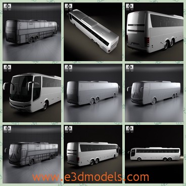 3d model of Comil Campione 3.65 bus - This 3d model is about a Comil Campione bus. This bus has a long body and big black windows. Besides, its wing mirrors are also very big.