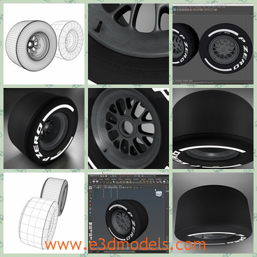 3d model of F1 medium tyre - This is a 3d model of F1 medium tyre.There are two models: one low and one high resolution.The tyre is black and has white words on both sides.