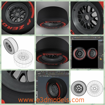3d model of Formula 1 tyre - This is a 3d model which is a about a black Formula 1 tyre. The model is completely ready for use visualization.