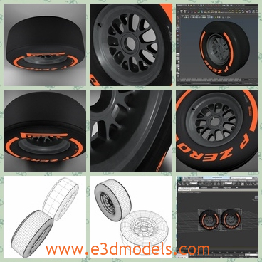 3d model of Formula 1 tyre - There is a 3d model which is about a Formula 1 tyre. This tyre has black surface dotted with orange words.
