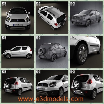 3d model of Geely LC cross panda - This 3d model is about a Geely LC cross panda which is a pretty white car. This car has a narrow bonnet and a tall roof.