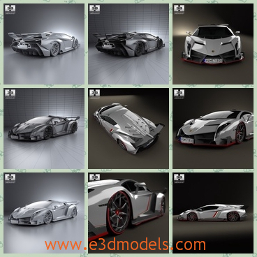 3d model of Lamborghini Veneno 2013 - There is a 3d model about the Lamborghini Veneno 2013.This 3D model is created on real car base. It's created accurately, in real units of measurement, qualitatively and maximally close to the original.