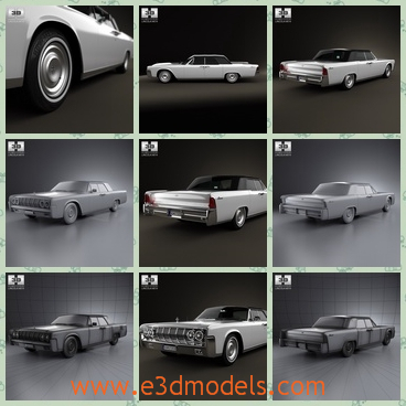 3d model of Lincoln continental convertible - This 3d model is about a Lincoln continental convertible. This car is very long and flat and it has four shiny wheels.