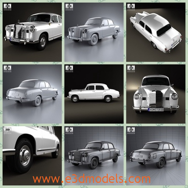 3d model of Mercedes Benz Poton W120 - Here is a 3d model which is about a Mercedes Benz car which has white paints and small wheels. This 3d model is created on real car base.