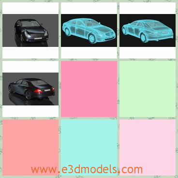 3d model of Mercedes Benz RIGGED - This 3d model shows us a Mercedes Benz RIGGED. This is a dashing black car with glossy appearance and bright headlights.