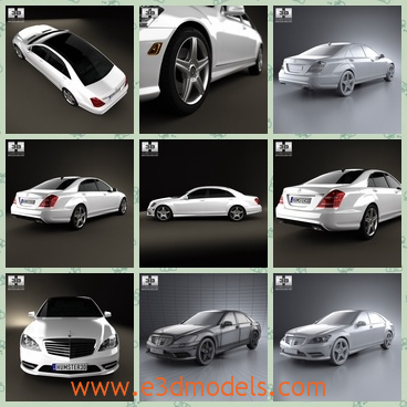 3d model of Mercedes Benz S class W221 - This 3d model is about the Mercedes Benz S class W221 which is a cool car with shiny white surface. This 3d model is created on real car base.