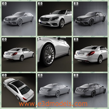 3d model of Mercedes Benz S class w222 - This 3d model is about a Mercedes Benz. It is a pretty white car with a smooth and flat body and it has four shiny wheels.