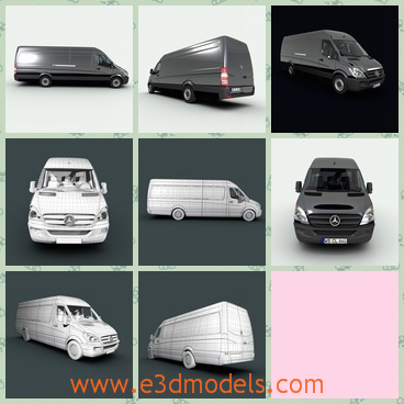 3d model of Mercedes Benz Sprinter - This 3d model is about a Mercedes Benz Sprinter. This car is very long and high, and it has a big space to carry many things at one time.