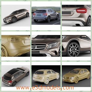 3d model of Mercedes GLA - This 3d model is about a dashing Mercedes car which has a glossy sliver surface and big red taillights. It also has shiny steel wheels.